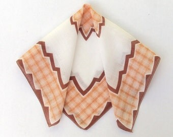 Handkerchief, Brown on White, Zig Zag Pattern, Vintage