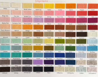 PURE Merino Wool Felt Colour Swatch Card
