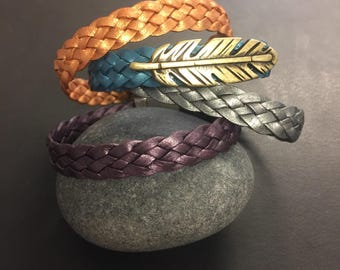 Leather Wrap Bracelet - Braided Metallic Leather Bracelet - Single or Double Wrap Bracelet - Optional Feather or Heart Charm