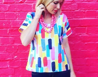 Womens Dion Top , colourful painted dash fabric top