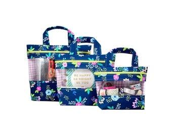 Stephanie Peekaboo Bag - Navy Floral - peek-a-boo, vinyl