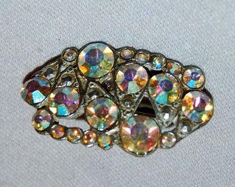 Vintage / Signed / Brooch / Aurora Borealis / AJC / Rhinestone / Silver Tone / Old /  jewellery / jewelry