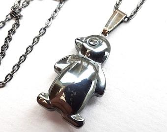 Penguin Necklace, Gunmetal Penguin Stone Necklace, Silver Black Gunmetal Coating, Gunmetal Chain, Penguin Jewelry, Bird Necklace