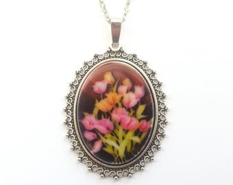 Pretty Flower Bouquet Necklace, Spring Flowers Necklace, Pink and Orange Tulip Necklace in Silver or Bronze