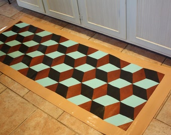 Copper Cube floorcloth