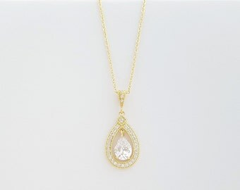Gold Bridal Pendant Necklace Wedding Jewelry Clear Cubic Zirconia Teardrop Pendant Necklace Gold CZ Bridal Necklace, Sarah