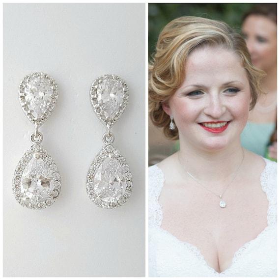 Bridal Earrings Wedding Jewelry Silver Clear Cubic Zirconia Crystal Teardrop Earrings Wedding Earrings Pendant Set Bridal Jewelry, Emma