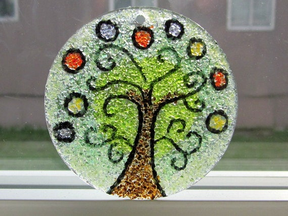 Bubble Tree Suncatcher, Stained Glass Mosaic, Green Brown Red, Willow Oak Maple, Glass Art Tree Ornament, Handmade