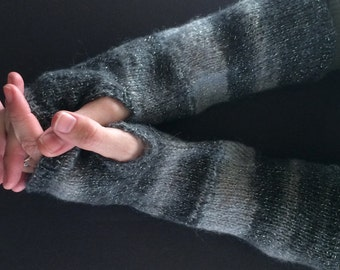 Fingerless Gloves - Arm Gloves - Women's Gloves - Mohair Gloves - Hand-Knit Gloves - Arm-Length Gloves - Grey and Silver Gloves  - Striped