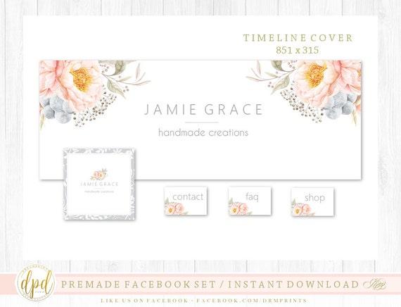 Premade DIY Facebook Set | Facebook Timeline | Facebook Package | Facebook Graphics | Business Branding | INSTANT DOWNLOAD-ST923