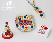 Circus Party Hat, Diaper Cover, Necktie for Baby Boy Cake Smash or First Birthday