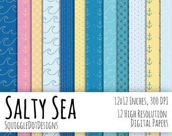 Beach Themed Digital Printable Background Paper for Web Design, Crafts, and Scrapbooking Set of 12 - Salty Sea - in Blues, Yellow, and Pink