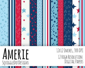 Digital 4th of July Printable Paper for Cards, Crafts, Art and Scrapbooking Set of 12 - Amerie - Instant Download in Red, White, and Blue