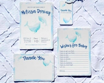 Printable Custom Blue Whale Baby Shower Collection - Invitation, Wishes for Baby, Favor Tags, Thank You Note