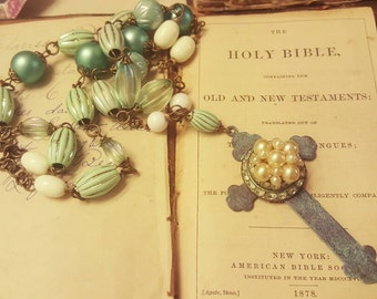 Religious Assemblage Vintage Devotional Pearl Rhinestone Cross Teal Long Necklace Repurposed Jewelry