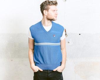 Vintage 90s Mens FILA Knit Vest . 1990s Blue V-neck Preppy Hipster Nerd Sleeveless Sweater . size Medium