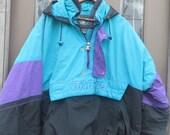 STARTER hooded colorblock purple teal blue black  jacket, jacket, quilted  half zip, 1/2 zip jacket  90s hip-hop clothing, 1990s  sz xlarge