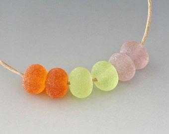 Rustic Gems- (6) Handmade Lampwork Beads - Amber, Green, Amethyst