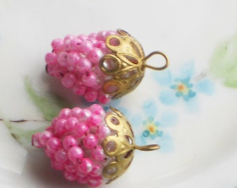 Vintage Grape Cluster Pendant Pearl Filigree Drops Dangles Charms Pink #1227dd
