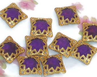 Vintage Filigree Findings Charms Pendants Gold Tone Old Purple Grape Victorian. #752