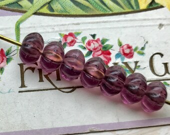 Vintage Amethyst Beads,Glass Melon Beads,6x8mm czech Flower Spacers NOS, Amethyst spacer beads, Rondelle Beads,#739A