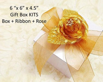 "12 Gift Box Kits 6"" x 6"" Box + Choice of Color Ribbon + Flower - White Gift Boxes - Bridesmaid's Gift Boxes Stemless Wine Glass Gift Boxes"