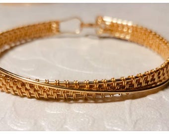 14K Gold-Filled Woven Wire Crossover Bracelet