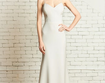 "Matte Crepe Fitted Wedding Gown with Deep Sweetheart Bodice, Low back, Godet Train, the ""Evan"" CUT TO ORDER"