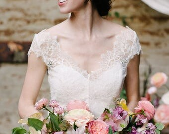 "Chantilly lace bridal bodice top with cap sleeves, the ""Ariel"" CUT TO ORDER"