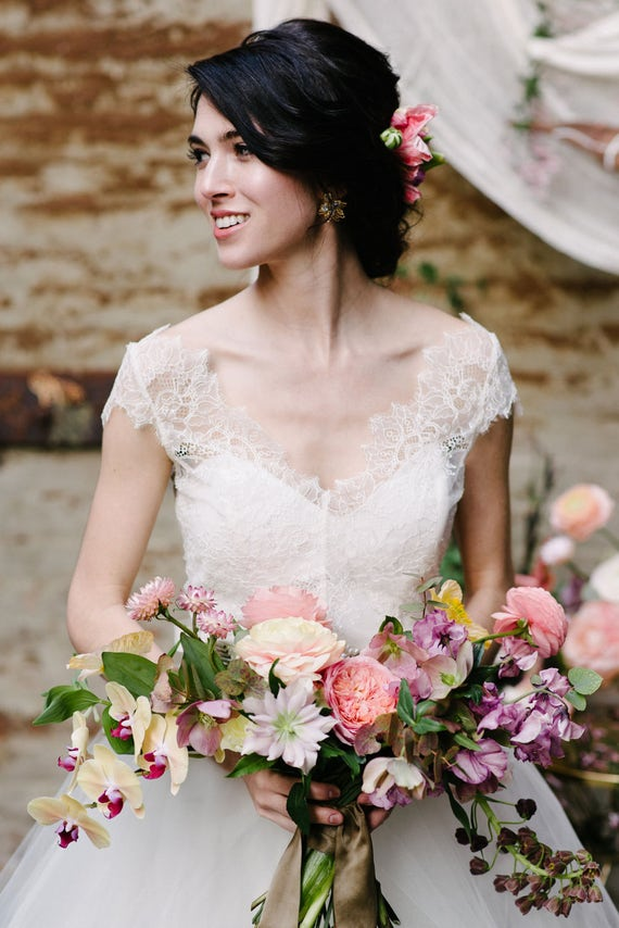 """Chantilly lace bridal bodice top with cap sleeves, the """"Ariel"""" CUT TO ORDER"""