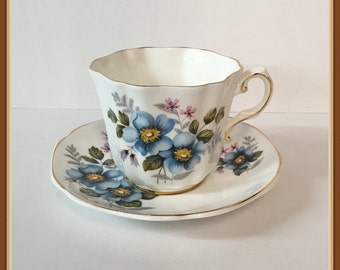 Royal Grafton Tea Cup and Saucer, Fine Bone China, Blue Flowers, England Vintage 1957 1961
