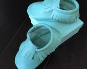 Turquoise Baby Blue Tiffany Blue Leather Baby Toddler Moccasins