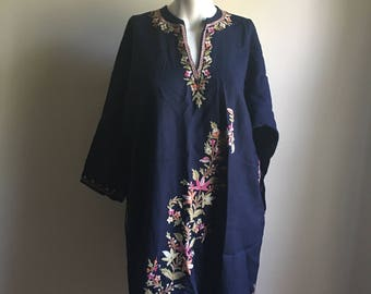 Vintage Rare Bohemian Indian Tunic • Navy Blue Embroidered Thin Wool Tunic • Jumper Free Size