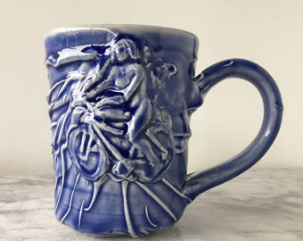 Naked Bicyclist Cup, Nude Bas Relief Figure Sculpture Vessel Tea Mug Mature Erotic Exhibitionist Art Pottery