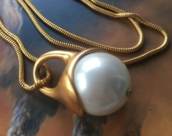 Anne Klein Chunky Faux Pearl Necklace Extra Long Gold Plated Pendant & Snake Chain Elegant Classic Lion Logo Hang Tag