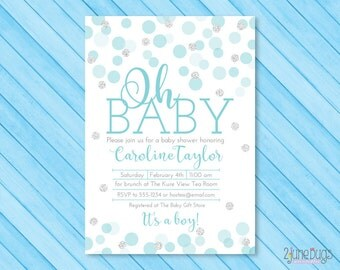 Blue Baby Shower Invitation with Silver Glitter Dots - Baby Boy Shower Invites - Boy Baby Shower - PRINTABLE INSTANT DOWNLOAD