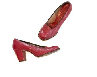 1940s Red Leather heels, size 6 1/2 Pumps, Rockabilly