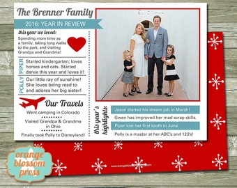 Year In Review Christmas Card, Holiday Card, Year Summary, Custom Christmas Card, Personalized Card, Family Newsletter Card, Back Option