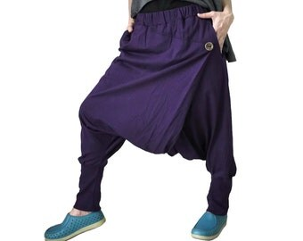Women Men Pants - Drop Crotch Dark Purple Cotton Jersey Pants With 2 Side Pockets And Elastic Waist Band