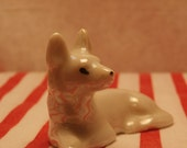 Vintage Pearly White Luster Fox or Shepherd Figurine, Made in Japan, Resting Dog or Fox