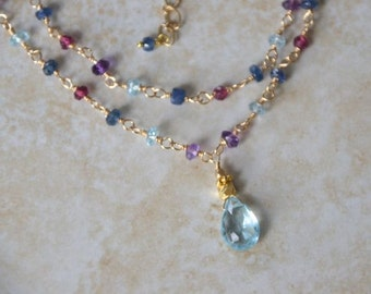 Amethyst Blue Topaz Garnet Iolite double strand necklace, gold filled, layering necklace, blue topaz teardrop
