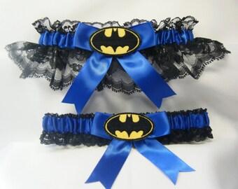 Handmade Batman wedding garters black lace and royal blue garter
