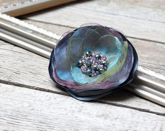 Fabric Flower BROOCH Pin Petal Flower Pin Organza Satin handmade, handmade rosette, corsage, flower pin button