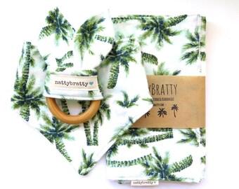 Modern Baby Bib - Bandana Bib - Burp Cloth - Teething Ring - Gift Set or Individual Sale - Palm Tree Print - Baby Gift - Baby Shower Gift