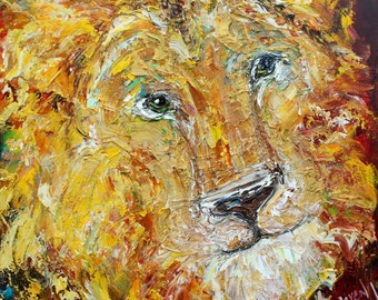 Lion painting original oil 12x12 abstract palette knife impressionism on canvas fine art by Karen Tarlton