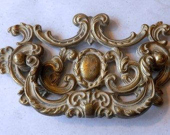 "one (1) vintage cast brass drawer pulls 3 1/2"" on centers"