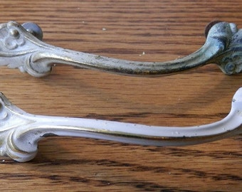 pair (2) vintage French provincial style drawer pulls in 3 inch centers