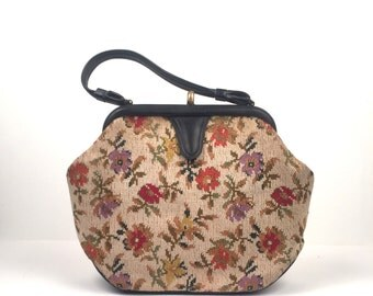 Vintage 1960s Tapestry Top Handle Handbag