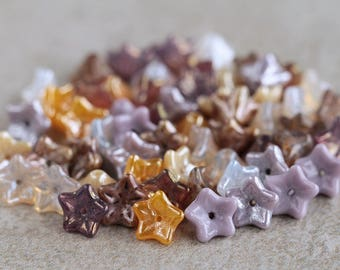 Lilac, Yellow & Beige Glass flower bead mix, Czech glass flower beads, 5-petal Trumpet Flower beads, 6x9mm (60pcs) NEW