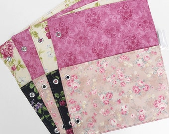 3 Ring Binder Folders Choose Any Fabric in My Shop - Priced Individually - Vintage Floral Black Pink Mauve Yellow - Made to Order